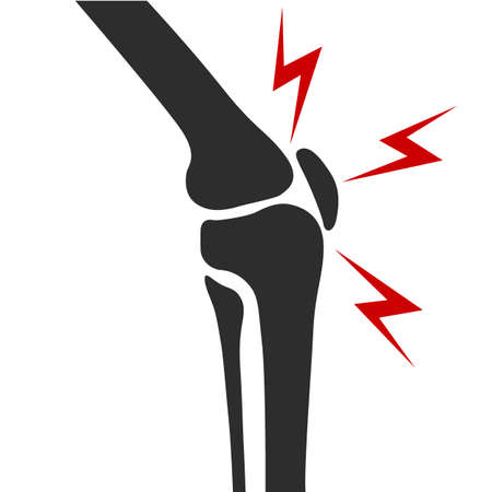 Knee joint pain side view simple flat illustration design