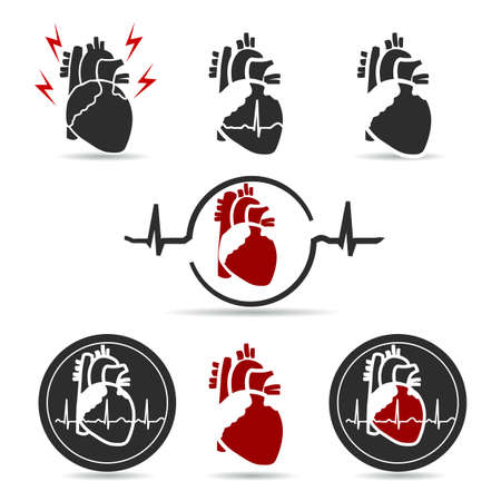 Cardiology and heart health care symbols, beautiful simple and smooth design bundle set