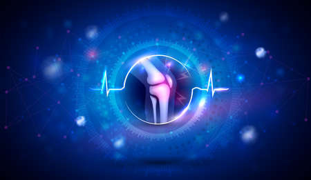 Joint problems and treatment concept, knee joint anatomy inside the abstract cardiogram shape on a beautiful blue background with triangles and glow.