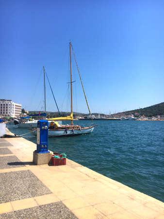 Cesme, Ä°zmir / Turkey - July 26, 2019: View of Cesme coastline.