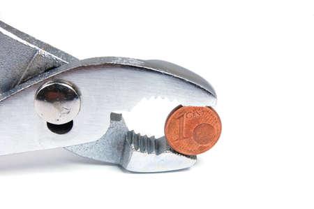 gripper: Gripper with one cent isolated on white background.Zange mit einem Cent isoliert auf wei�em Untergrund.