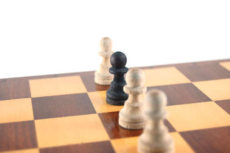 gamesmanship: Some chessman isolated on a white background. Stock Photo