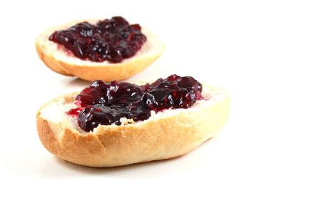 bap: bap with jam isolated on white background Stock Photo
