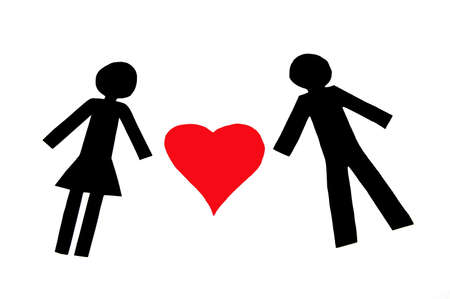 Paper people in love isolated on white background Stock Photo - 3520843