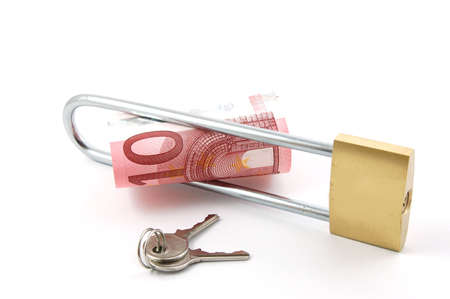 padlock with money isolated on a white background photo