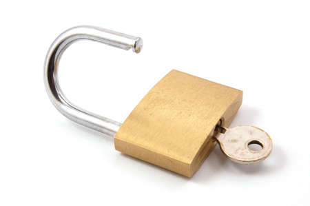new padlock isolated on a white background. Stock Photo - 3570219