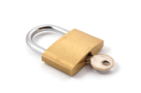new padlock isolated on a white background. Stock Photo - 3585097