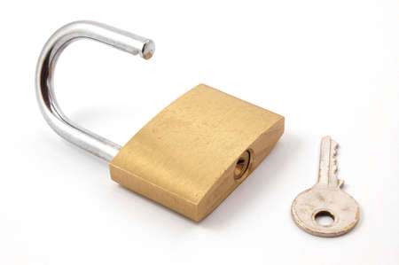new padlock isolated on a white background. Stock Photo - 3585098