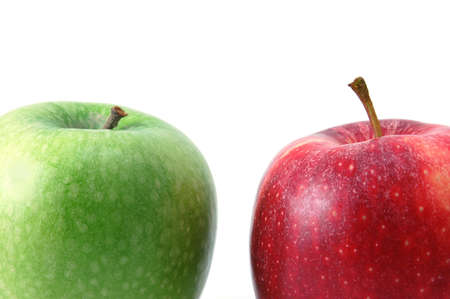 antipode: Red an green apples isolated on a white background