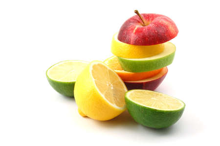 vitamines: fresh fruits isolated on  a white background