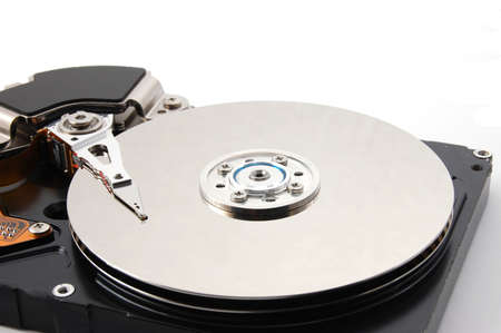computer hard disk drive  isolated on white background photo