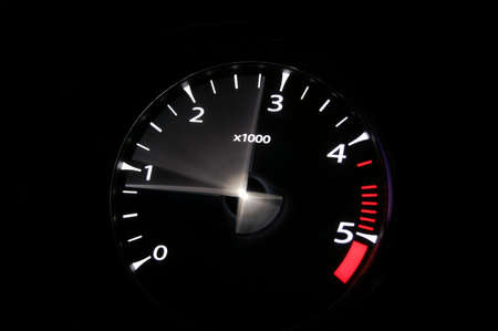 night shift: moving revs meter of a sports car on a black background.