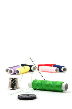 sewing kit: sewing kit isolated on a white background Stock Photo