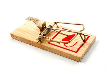 swindle: dangerouse mousetrap isolated on white background