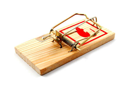 entrap: dangerouse mousetrap isolated on white background