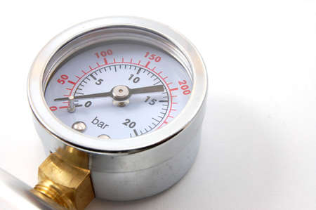 pascal: high pressure barometer of a pump on white background Stock Photo