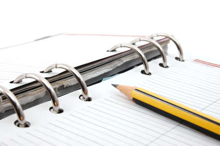business organizer on white background with pen photo