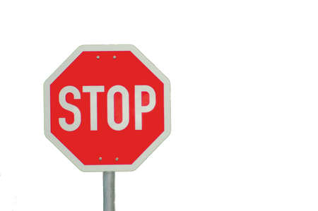 card stop: stop sign isolated on white background with empty copyspace for text