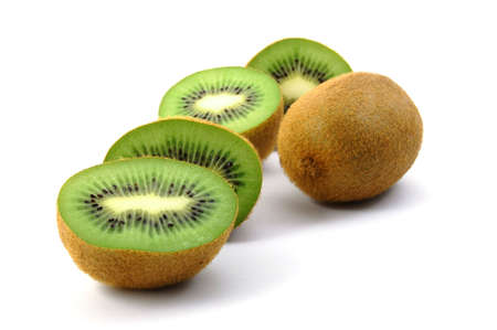 healthy green kiwi fruit isolated on white background Stock Photo - 3864977