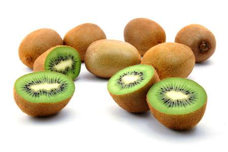 vitamines: healthy green kiwi fruit isolated on white background