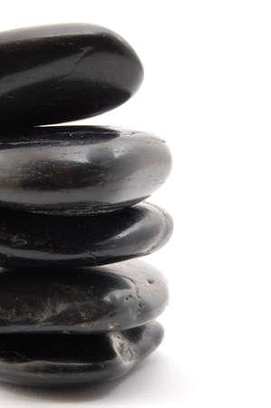 black stones in balance isolated on white background Stock Photo - 3924921