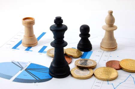 chess man over business chart admonish to strategic behavior Stock Photo - 3947368