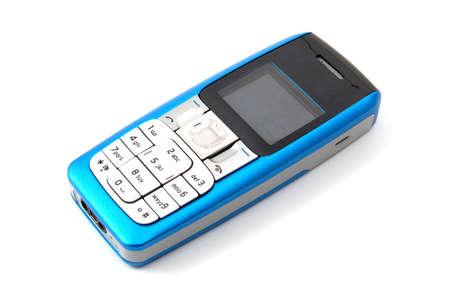 mobiele telefoons: blauwe gsm geïsoleerd op witte achtergrond Stockfoto