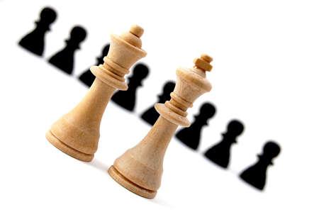 chellange: chess piece isolated on white background advising to strategic behavior