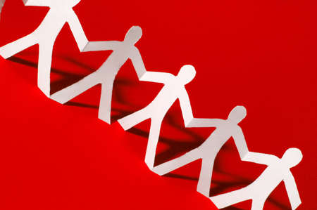 paper people doing teamwork in their business Stock Photo - 4097158