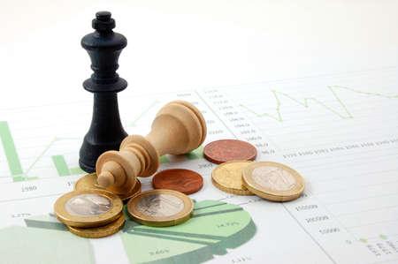 chellange: chess man over business chart admonish to strategic behavior