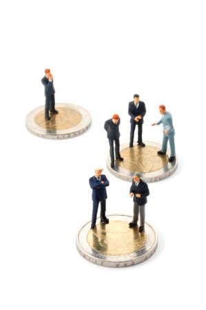 business man and euro money isolated on white background photo