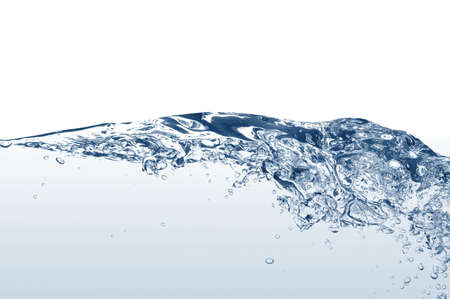 fresh water with bubbles of air on white background photo