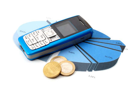 blue cell phone over business chart showing success Stock Photo - 4180291