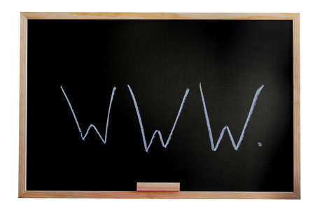 blackboard isolated on white background showing a internet concept photo