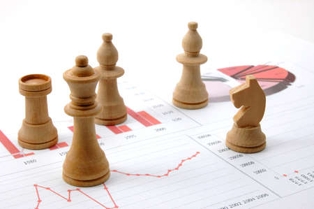 financial strategy: chess man over business chart admonish to strategic behavior