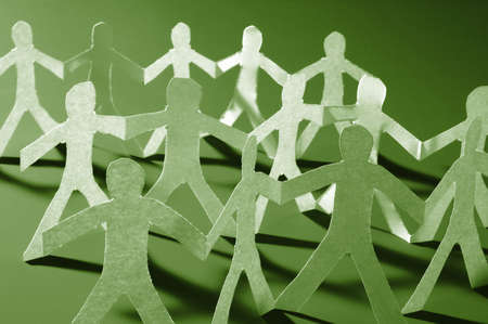 anonymus: paper people doing teamwork in their business Stock Photo