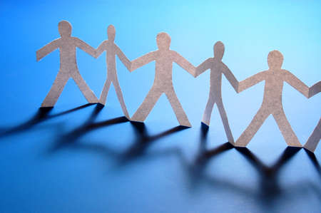 paper people doing teamwork in their business Stock Photo - 4273685