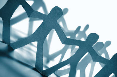 paper people doing teamwork in their business Stock Photo - 4273677
