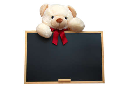 isolated teddy with empty blackboard on white background Stock Photo - 4273658