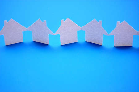 paper houses or homes showing a concept for real estate  Stock Photo