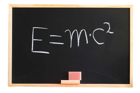 mc2: E mc2 formula from albert einstein on a chalkboard  Stock Photo