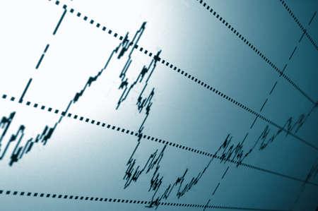 economie: financiële grafiek of stock grafiek op het scherm van een display