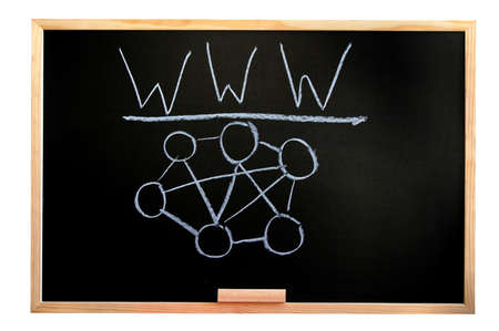 blackboard isolated on white background showing a internet concept Stock Photo - 4562151