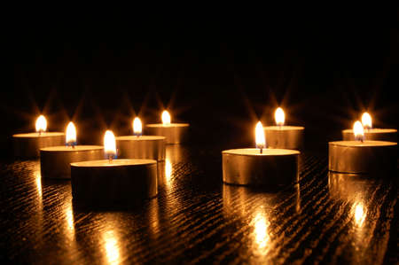 romantic candle light on a black background