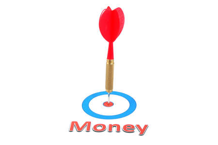 money concept with successful dart arrow in the target photo