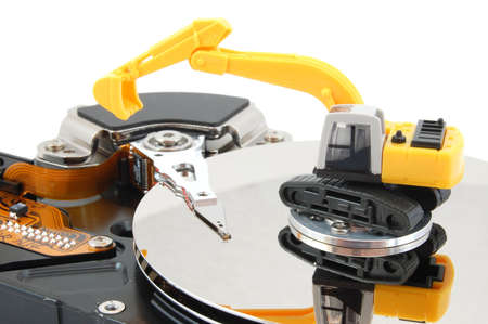 upgrading: hdd and digger showing concept for computer repair service