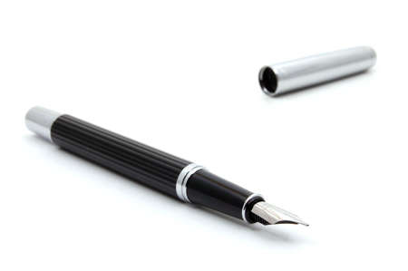 autograph: business fountain pen isolated on white background