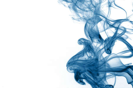 cigarette smoke: abstract blue smoke isolated on white background