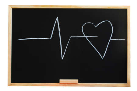 risky love: blackboard and heart showing love and medical concept