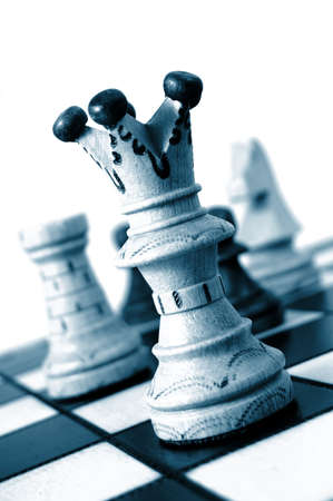achivement: chess pieces showing concept for competition in business Stock Photo